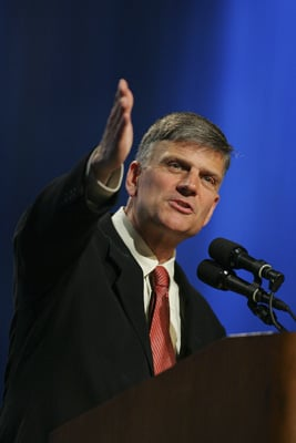 Evangelist Franklin Graham preaches during a crusade in Mobile, Ala. (2006) Religion News Service photo by John David Mercer/The Press-Register in Mobile, Ala.