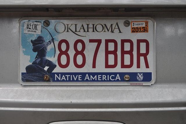 Oklahoma license plate image courtesy <a href=