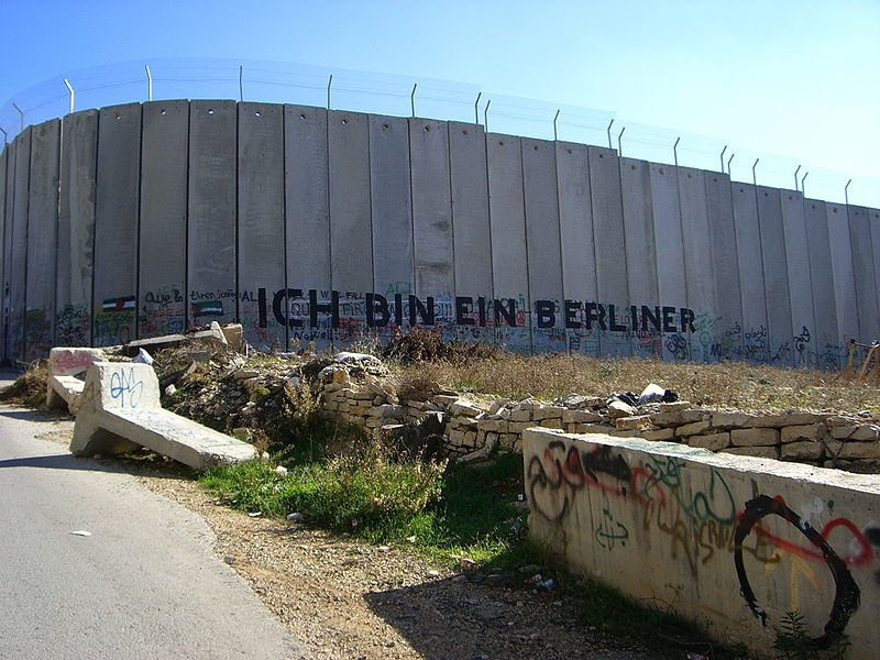 Palestine Segregation Wall, with reference to JFK's words