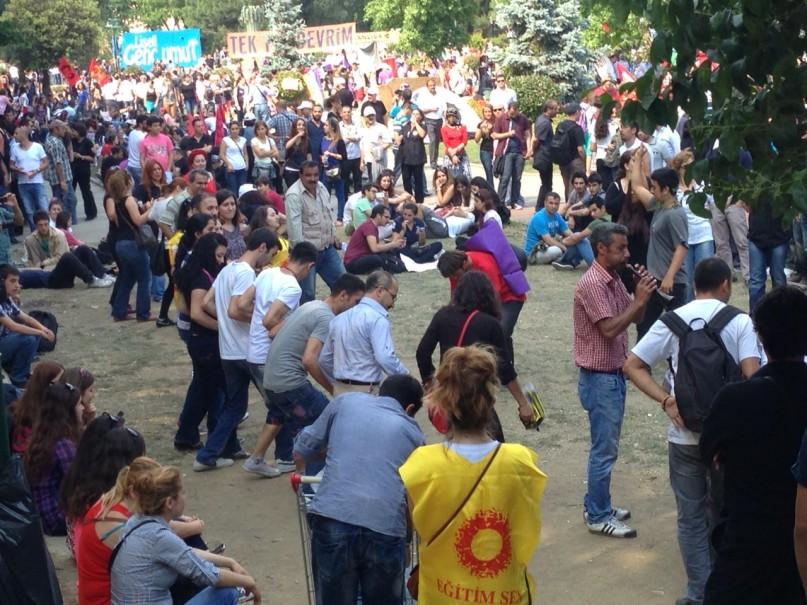 drumming, dancing, at Gezi Park