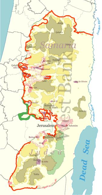 West Bank barrier segregation wall map (Wikipedia)