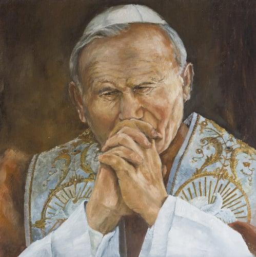 An illustration of Pope John Paul II praying.