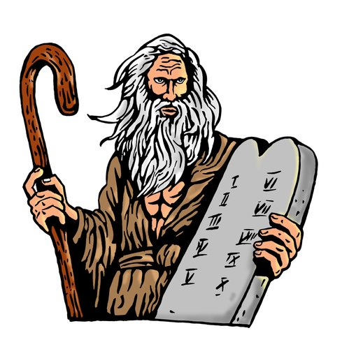 A drawing of Moses holding the Ten Commandments in stone.