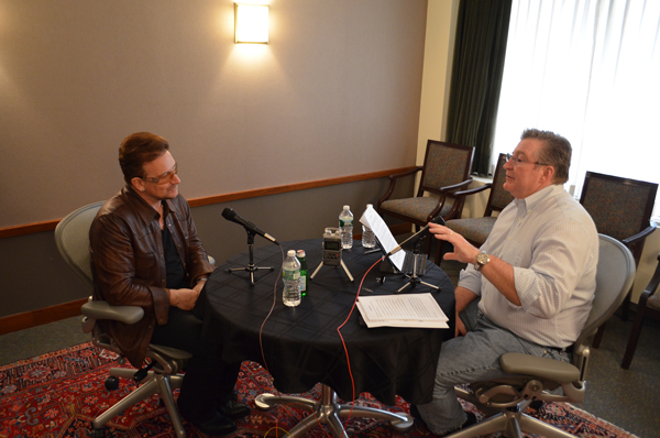 Bono exchanged Bible references with Focus on the Family's president Jim Daly as they bantered about music, theology and evangelicals' role in AIDS activism in a recent radio interview. Photo by Lisa Cadman/courtesy of Focus on the Family