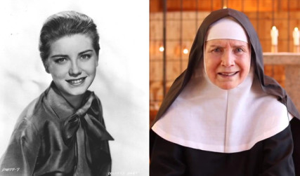 Dolores Hart as a young woman (left) and Mother Dolores Hart (right). Photo courtesy Ignatius Press