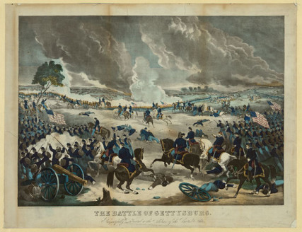 The battle of Gettysburg print showing Union troops advancing from the right during fighting.  (c. 1867).  Photo courtesy Library of Congress