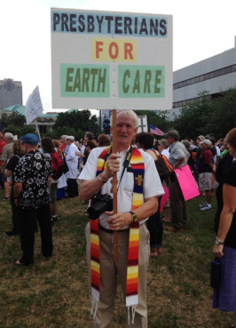 A clergyman protesting for the environment at the General Assembly in Raleigh, N.C. on June 17. Photo by Anna Scott/WilmingtonFAVS.com