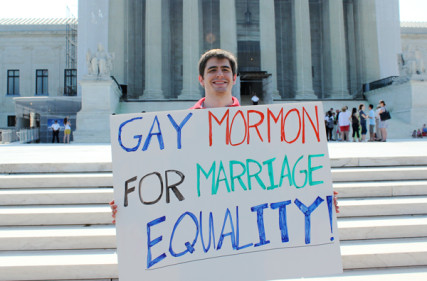 David Baker of Washington, a 24-year-old native of Salt Lake City, stood outside the Supreme Court Tuesday (June 25) hoping for a decision in support of gay marriage. RNS photo by Adelle M. Banks