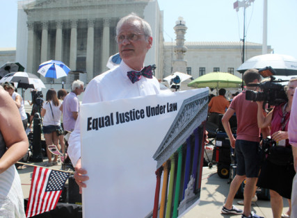 Rep. Earl Blumenauer, D-Oregon, celebrates Supreme Court decisions on same-sex marriage on Wednesday (June 26). RNS photo by Adelle M. Banks