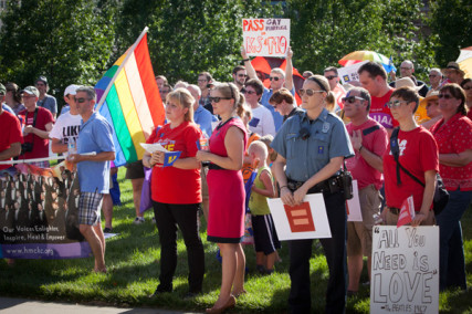 Participants gather during a rally celebrating the Supreme Court's gay marriage ruling at Ilus W. Davis Park in Kansas City, Mo. on Wednesday (June 26).  RNS photo by Sally Morrow