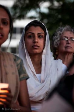 Harleen Dhillon attends a vigil at Cathedral Square Park in Milwaukee on Sunday night Aug. 5, 2013 after shooter Wade Michael Page killed 6 people at a local Sikh temple that morning. RNS photo by Lacy Landre