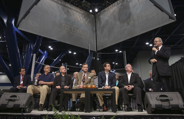 Frank Page, right, president of the Southern Baptist Convention Executive Committee, leads a panel discussion with members of the President's Council on Calvinism at the Southern Baptists' annual meeting in Houston. RNS photo courtesy Adam Covington/Baptist Press.