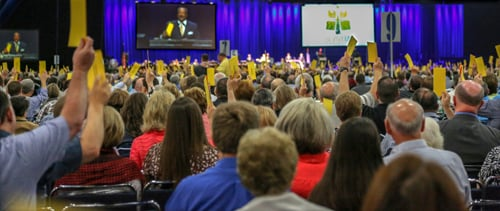 "More than 5,100 Southern Baptist ""messengers"" met in Houston for the Annual Meeting of the Southern Baptist Convention. RNS photo courtesy Van Payne / Baptist Press."