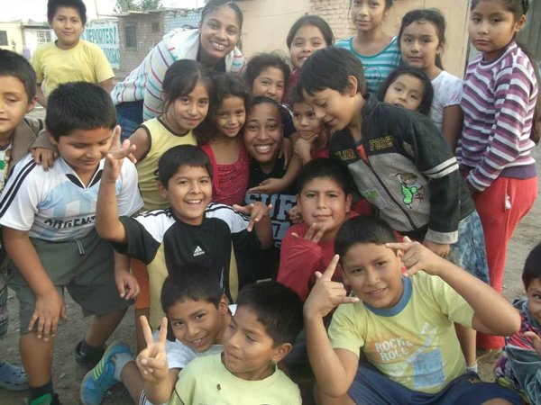 Taelyr Patton, center, is surrounded by children she met during a missions trip to Peru that introduced her to black Southern Baptist missionary mentors. RNS photo courtesy of Taelyr Patton.