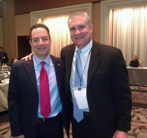 Chad Connelly, seen here with RNC Chairman Reince Priebus (left), has been tapped by the Republican National Committee as the new outreach director to evangelicals and religious groups. RNS photo courtesy Chad Connelly.