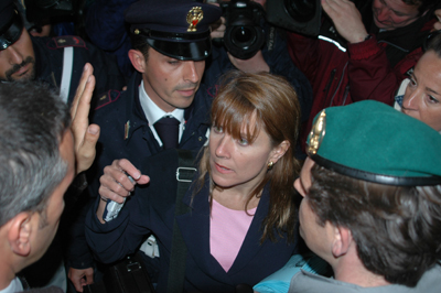 Survivors Network of those Abused by Priests (SNAP) president Barbara Blaine is asked to leave St. Peter's square by Vatican security in 2005 prior to the election of Pope Benedict XVI. RNS file photo by Rene Shaw.