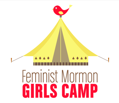 The Feminist Mormon Girls Camp logo. What it says to me is that camp is fun! And that Mormonism is a very big tent.