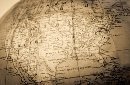 Sepia map of the United States