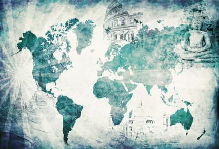 Blue vintage globe map photo courtesy Shutterstock.