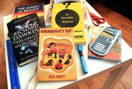 Some of the books that inform the Kitchin family's humanist approach to education and life in general. RNS photo by Rick Foster