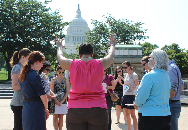 Supporters of immigration reform gathered near the U.S. Capitol on June 25, 2013, during a week of daily prayer gatherings organized by the Evangelical Immigration Table. RNS Photo by Adelle M. Banks