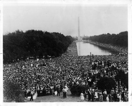 "On Aug. 28, 1963, Martin Luther King, Jr. addressed the crowd gathered during the March on Washington, delivering his ""I Have a Dream"" speech. RNS file photo"