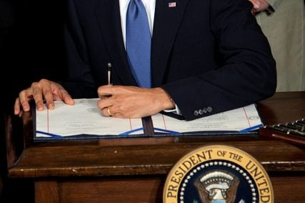 President Barack Obama signs the health insurance reform bill in the East Room of the White House, March 23, 2010. (Official White House Photo by Chuck Kennedy)