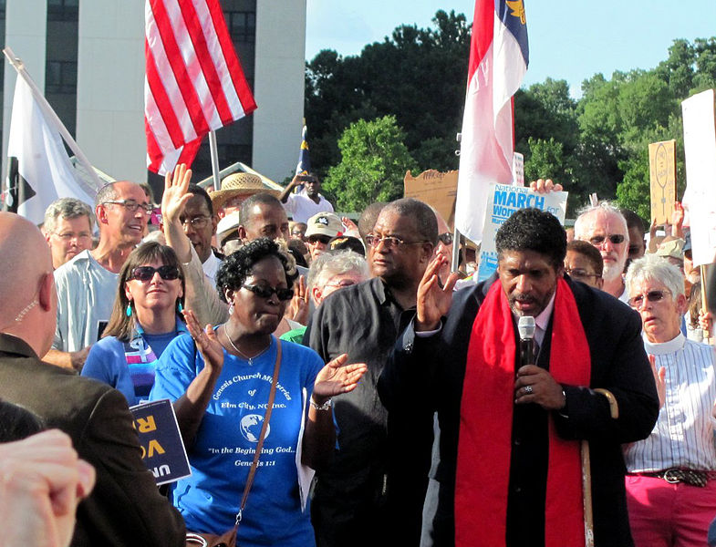 The Rev. William Barber, president of the North Carolina chapter of the NAACP, leading Moral Monday demonstrations in Raleigh, NC.
