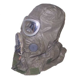 Gas mask hood to protect the head and neck area.