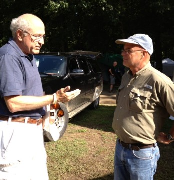 Brian McLaren (right) talking with a Festivalgoer after Brian's excellent Sunday morning session.