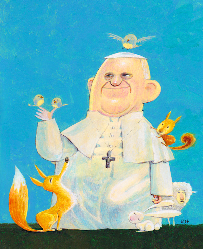 """#20 - Santo by Rob Hatem, Kansas City, Mo. (Acrylic Paint) - """"'Santo' is Spanish for """"saintly"""" and this is a portrait of Pope Francis in the spirit of Saint Francis."""""""