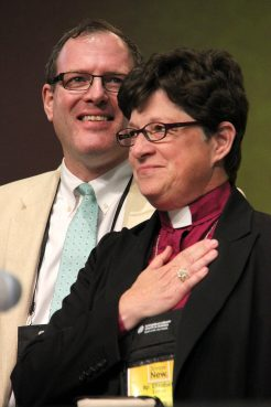 Lutherans elected the Rev. Elizabeth Eaton to be its first female presiding bishop of the Evangelical Lutheran Church in America. She is married to the Rev. Conrad Selnick (left), an Episcopal priest. Photo courtesy of ELCA News Service.