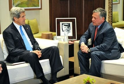 U.S. Secretary of State John Kerry meets with Jordanian King Abdullah II in Amman, Jordan, on May 22, 2013.