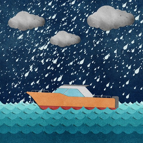 an illustration of a boat in a storm.