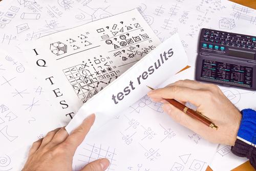 Person taking an IQ test