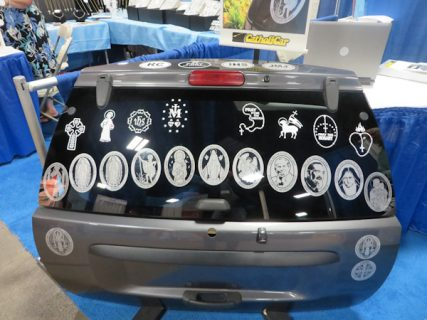 """A selection of bumper decals from the """"Catholic Car"""" company at the 17th annual trade show of the Catholic Marketing Network last week (Aug. 6-9) in Somerset, N.J. RNS photo by David Gibson."""