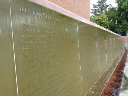 """Elizabeth Cady's Stanton's """"Declaration of Sentiments"""" are engraved in a granite waterfall at the National Women's Rights Historical Park in Seneca Falls, N.Y. where it is part of The Freethought Trail. RNS photo by Kimberly Winston"""