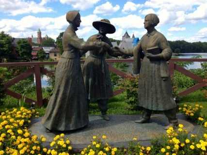 On The Freethought Trail - a statue by Ted Aub depicts the moment Amelia Bloomer, center, introduced Susan B. Anthony, left, to Elizabeth Cady Stanton and changed the course of the history of civil rights. RNS photo by Kimberly Winston
