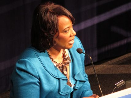 The Rev. Bernice King, CEO of The King Center in Atlanta, daughter of the late Rev. Martin Luther King Jr., speaking at the Newseum on Aug. 22, 2013. Religion News Service photo by Adelle M. Banks
