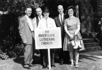 The American Lutheran Church's contingent among the Lutheran Human Relations Association of America's (LHRAA) marchers at the March on Washington, August 28, 1963. Pictured are (L-R): Rev. Robert S. Graetz, Jr., pastor of St. Philip's, Columbus, Ohio, formerly of Trinity Lutheran, Montgomery, Alabama; Rev. R(obert) Dale Lechleitner, associate director of The ALC's Board of American Missions; Rev. William A. Poovey, professor at Wartburg Seminary; Rev. Richard W. Solberg, professor at Augustana College, Sioux Falls, S.D.; and June Solberg. Photo courtesy National Lutheran Council