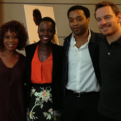 """""""12 Years a Slave"""" cast [From left: Alfre Woodard, Lupita Nyong'o, Chiwetel Ejoifor, Michael Fassbender] - photo credit: Jonathan Merritt, RNS"""