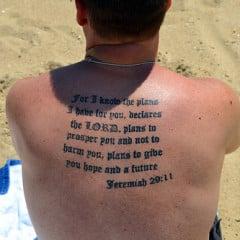 Sunbather with Jeremiah 29:11 tattooed on his back. - Image courtesy of Tobyotter (http://bit.ly/15Wrz1x)