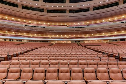 Next weekend, the LDS Conference Center will host its semiannual General Conference in this auditorium. Some women are petitioning to attend the all-male priesthood session on October 5.