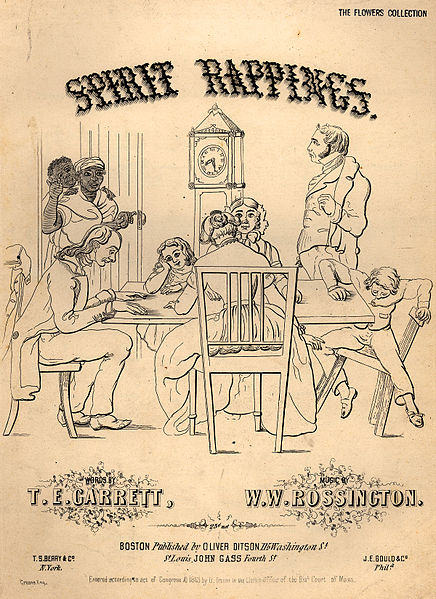 http://en.wikipedia.org/wiki/File:Spirit_rappings_coverpage_to_sheet_music_1853.jpg