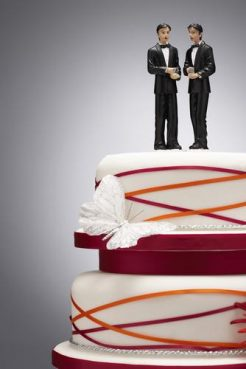 Groom figures on a wedding cake