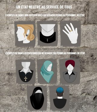"""An image released by the Quebec government showing, top three, """"non-ostentatious"""" religious symbols that could be worn by public employees, and, bottom five images, """"ostentatious"""" symbols that would be banned under the proposed Charter of Quebec Values. Photo courtesy Quebec government"""