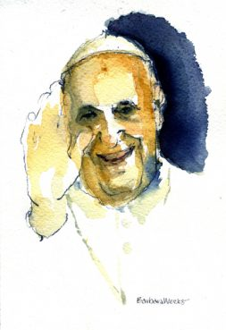 "#38 - Pope Francis - Off the Cuff by Barbara Weeks, Chicago, Ill. (Watercolor) - ""A watercolor of Pope Francis that expresses his spontaneity, directness and a papacy gradually filling out."""
