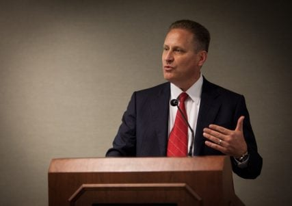 Steve Green, President of Hobby Lobby, speaks at the Religion News Writers Association Conference in Austin, Texas on Thursday (Sept. 26). RNS photo by Sally Morrow