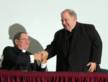 Newark Archbishop John J. Myers and co-Adjutor Bernard Hebda hold a news conference at the Archdiocese of Newark's Archdiocesan Center in Newark. Photo by John O'Boyle/The Star-Ledger
