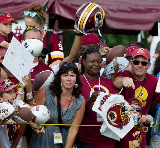 Washington Redskins fans at training camp on August 13, 2012.